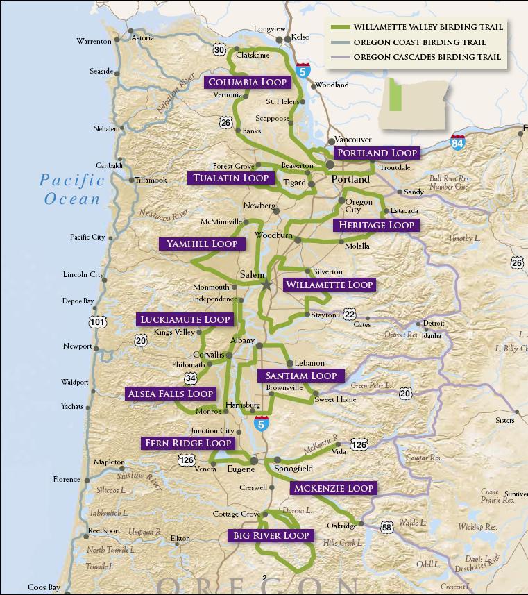 Alsea Oregon Map.Oregon Birding Trail Trail Map